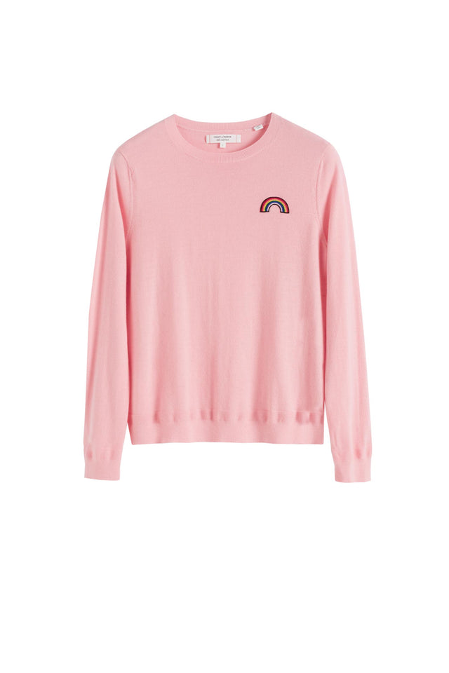 Pink Cashmere Rainbow Badge Sweater image 2