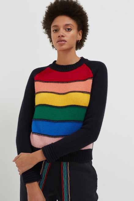 Navy Cashmere Rainbow Sweater