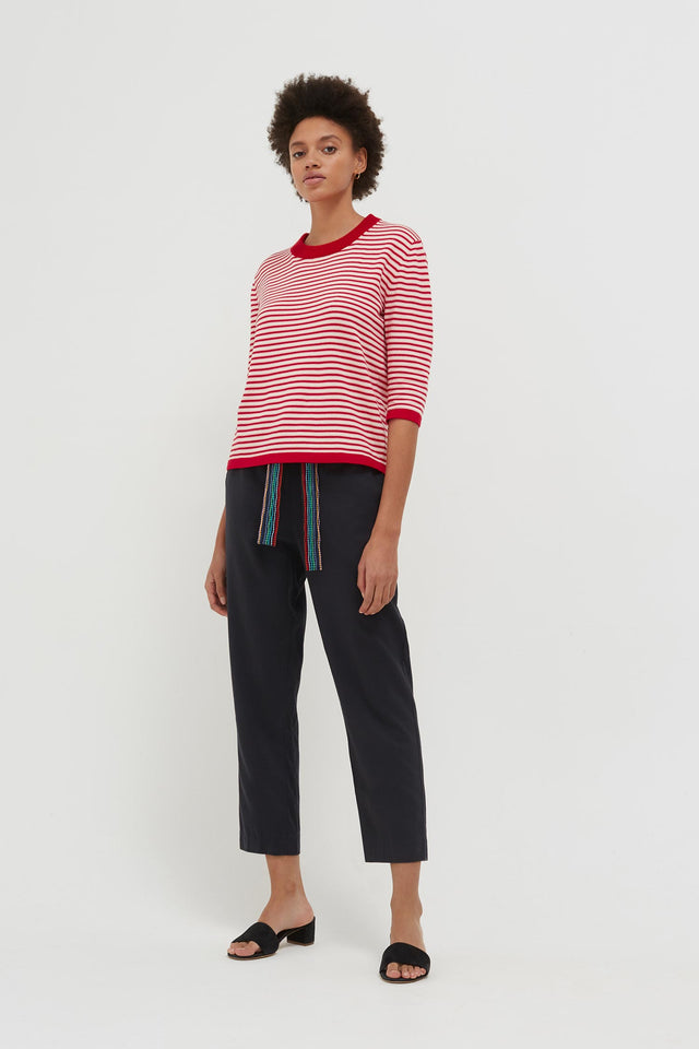 Red Cotton Striped Summer Sweater image 5