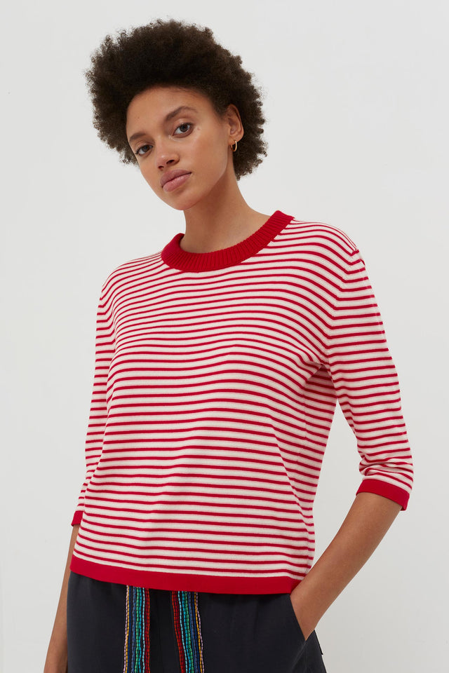 Red Cotton Striped Summer Sweater image 3