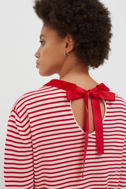 Red Cotton Striped Summer Sweater