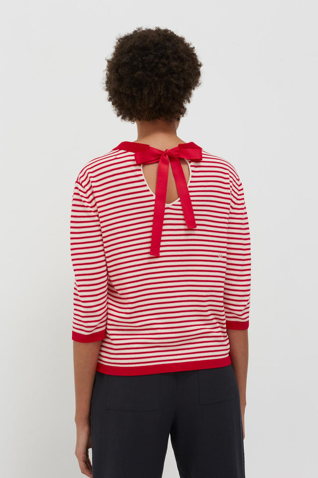 Red Cotton Striped Summer Sweater image 4