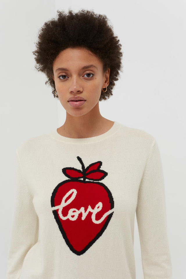 Cream Cashmere Strawberry Love Sweater image 1