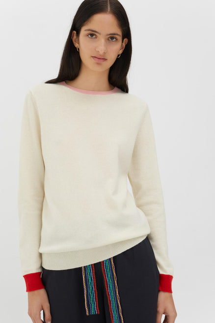 Cream Cashmere-Wool Contrast Trim Sweater