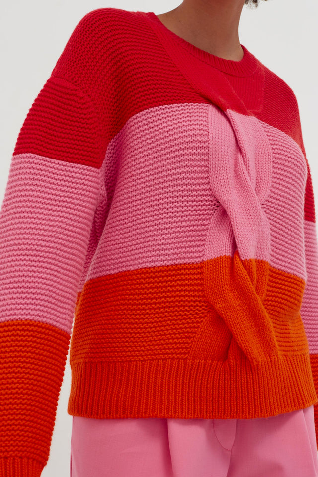Red Giant Cable Wool-Cashmere Sweater image 4