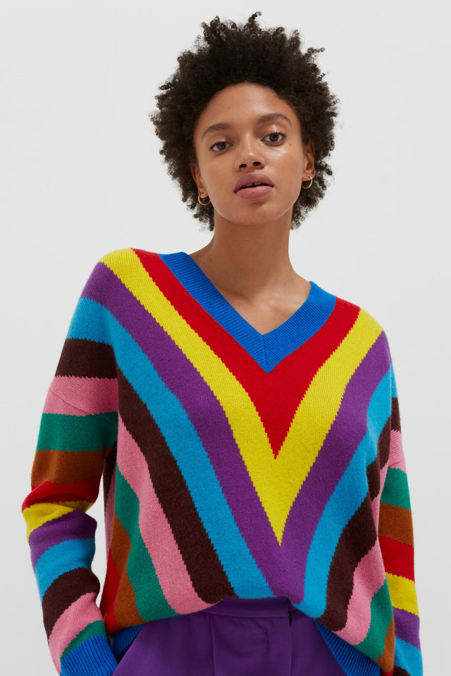 Multicolour Virginia Striped Wool-Cashmere Sweater image 1