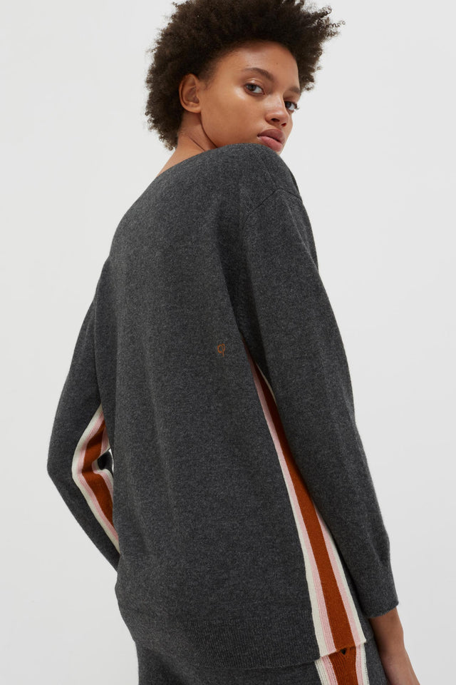 Grey Heritage Striped Wool-Cashmere Sweater image 5