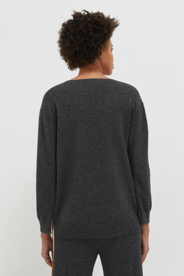Grey Heritage Striped Wool-Cashmere Sweater image 4