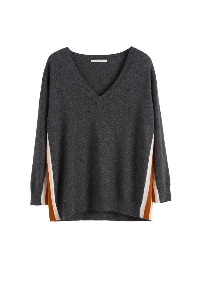 Grey Heritage Striped Wool-Cashmere Sweater image 2