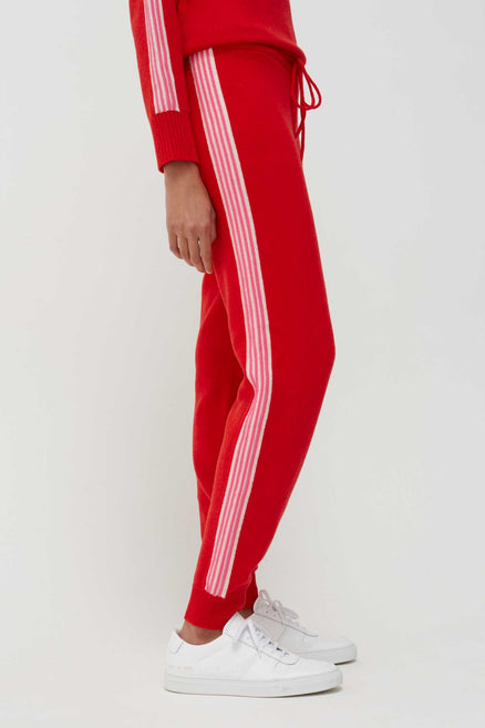 Chinti & Parker red ripple wool cashmere track pants knitted with a touch of cashmere for softness