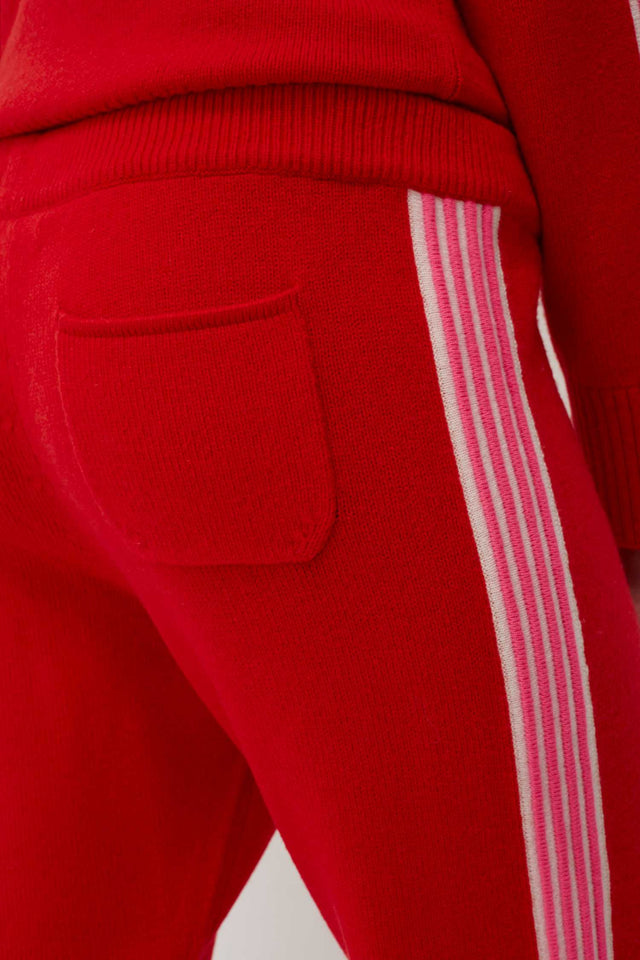 Red Ripple Wool-Cashmere Track Pants image 4