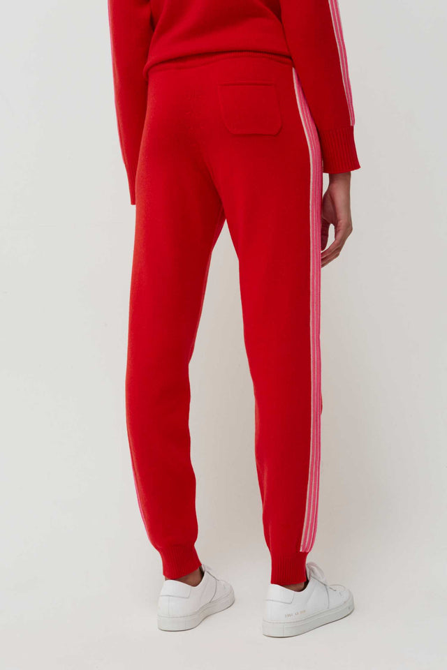 Red Ripple Wool-Cashmere Track Pants image 3