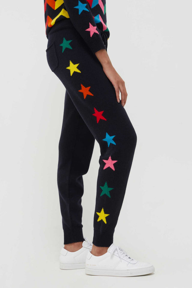 Navy Wool-Cashmere Ski Star Track Pants image 1