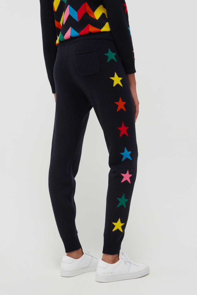 Navy Wool-Cashmere Ski Star Track Pants image 4