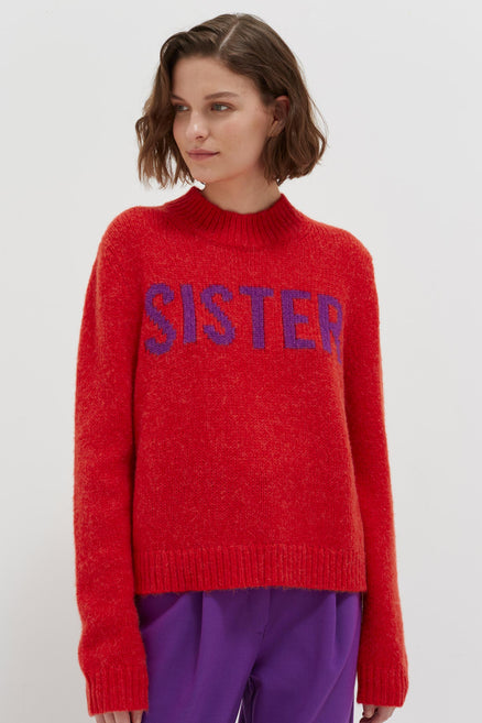 model shot of red-sister-alpaca-wool-sweater with a flattering mock turtleneck From Chinti & Parker