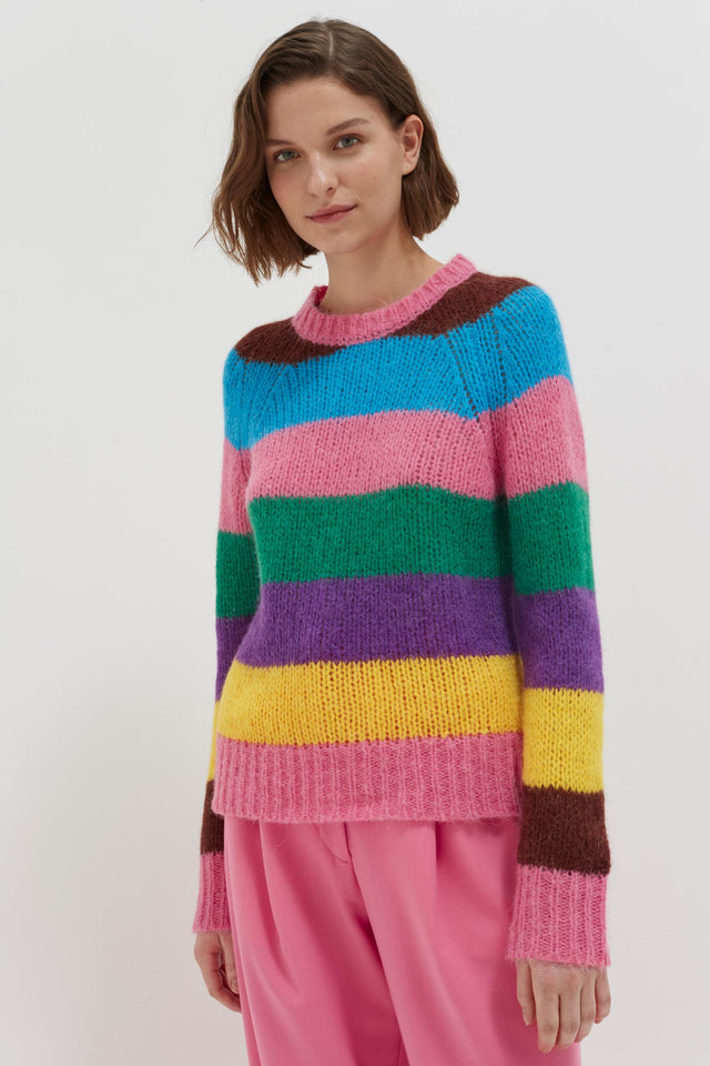Multicoloured Striped Alpaca-Merino Sweater image 3
