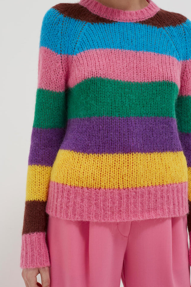 Multicoloured Striped Alpaca-Merino Sweater image 6