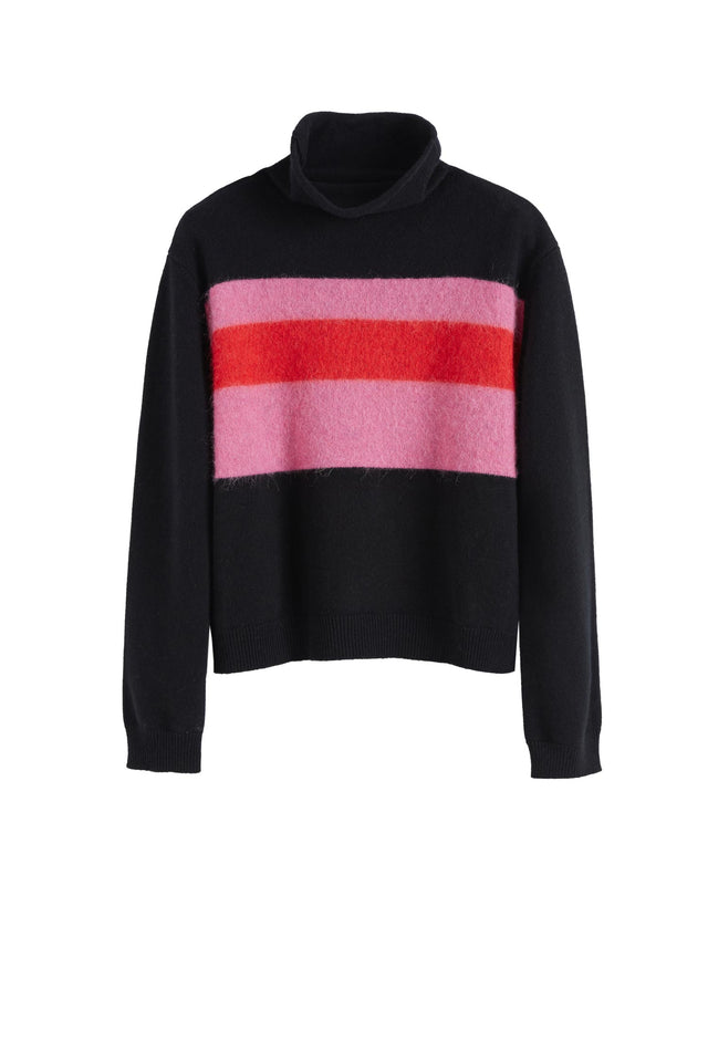 Black Alpaca Striped Merino-Cashmere Sweater image 2