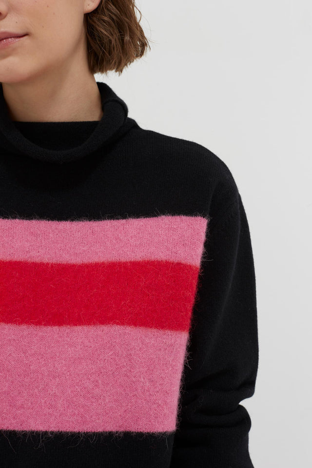 Black Alpaca Striped Merino-Cashmere Sweater image 4