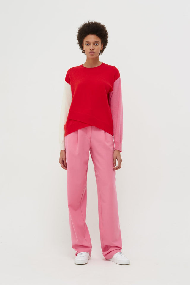 Red Cross Hem Cashmere Sweater image 3