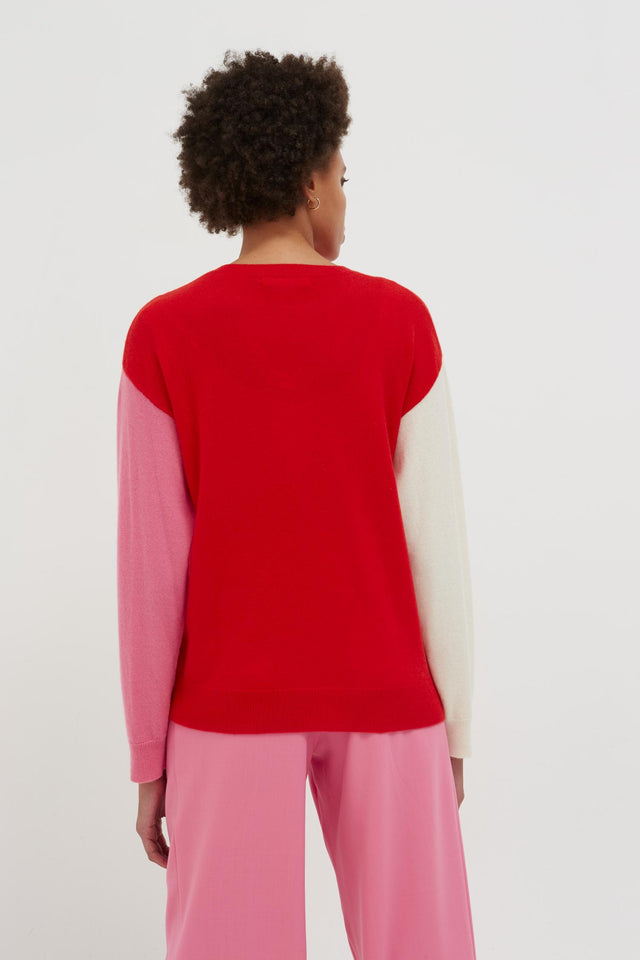 Red Cross Hem Cashmere Sweater image 6