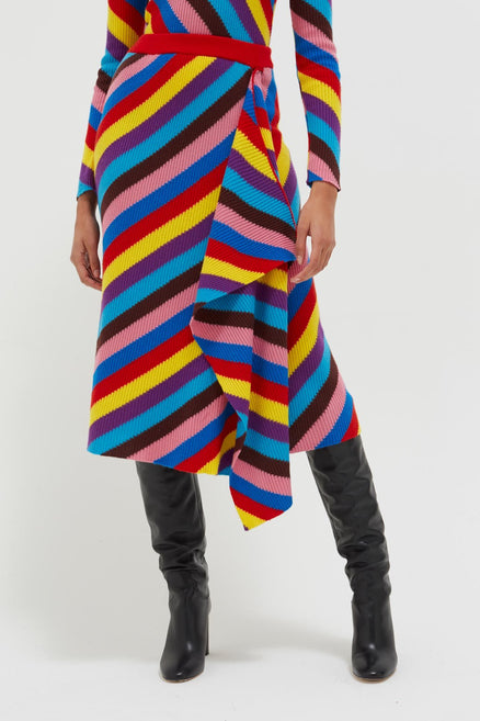 model shot of multicolour-rib-knit-cashmere-vanessa-skirt intarsia with a flattering waterfall front From Chinti & Parker