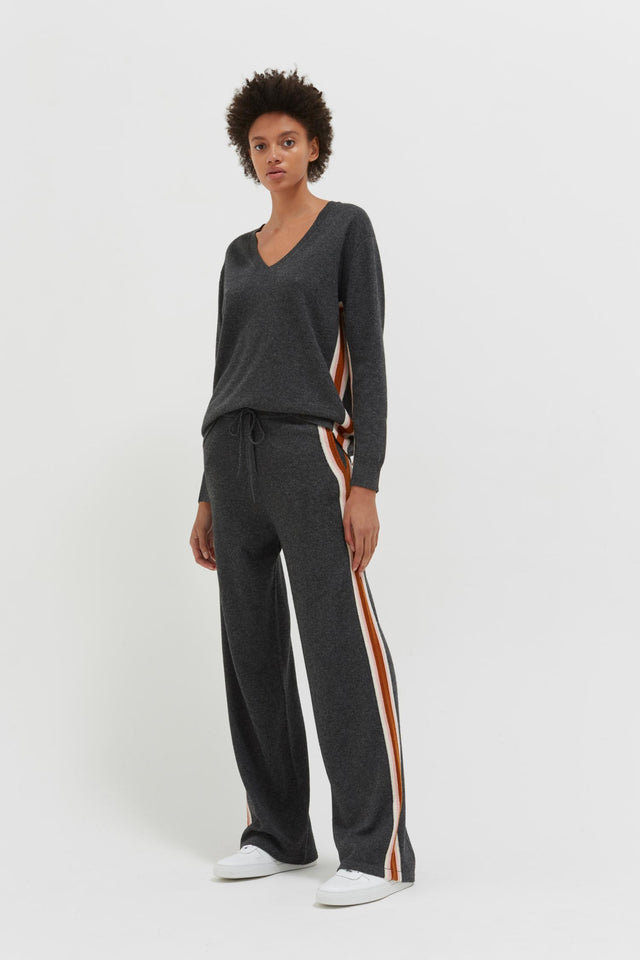 Grey Heritage Stripe Wool-Cashmere Track Pants image 3