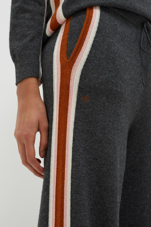 Grey Heritage Stripe Wool-Cashmere Track Pants image 5