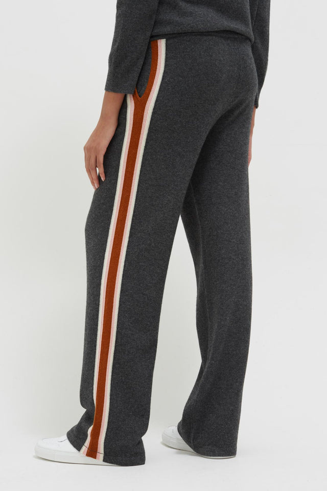 Grey Heritage Stripe Wool-Cashmere Track Pants image 4
