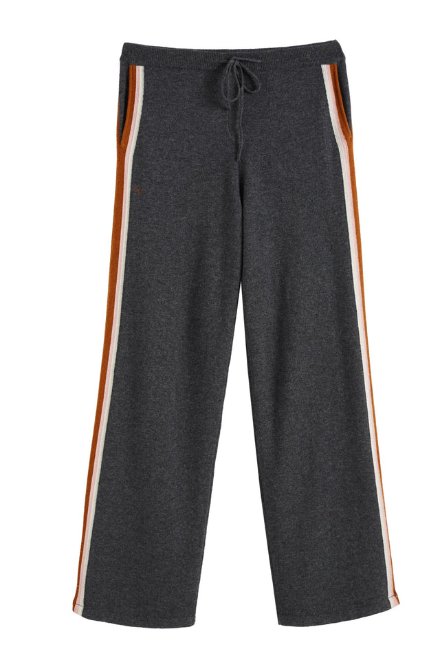 Grey Heritage Stripe Wool-Cashmere Track Pants image 2
