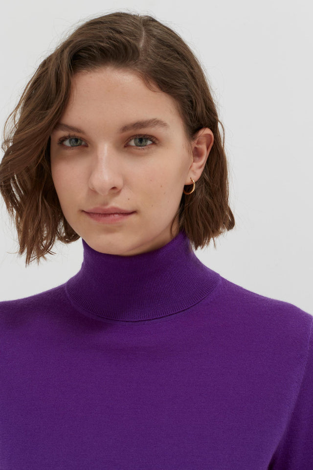 Purple Rollneck Cashmere Pop Sweater image 5