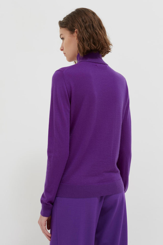 Purple Rollneck Cashmere Pop Sweater image 4