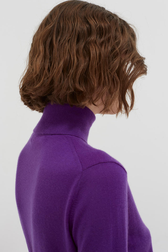 Purple Rollneck Cashmere Pop Sweater image 6