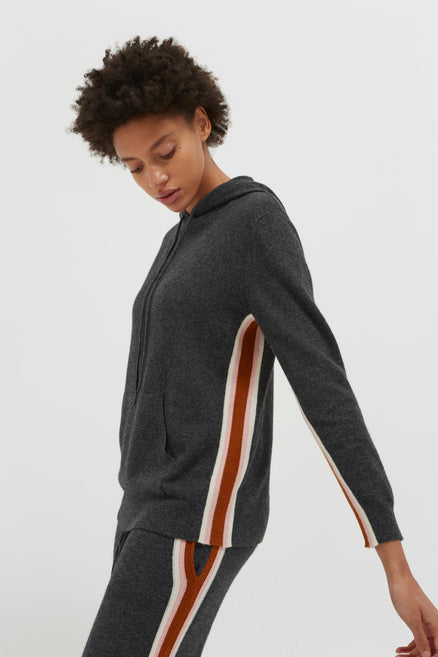 model shot of grey-heritage-striped-wool-cashmere-hoodie relaxed fit and super-soft From Chinti & Parker