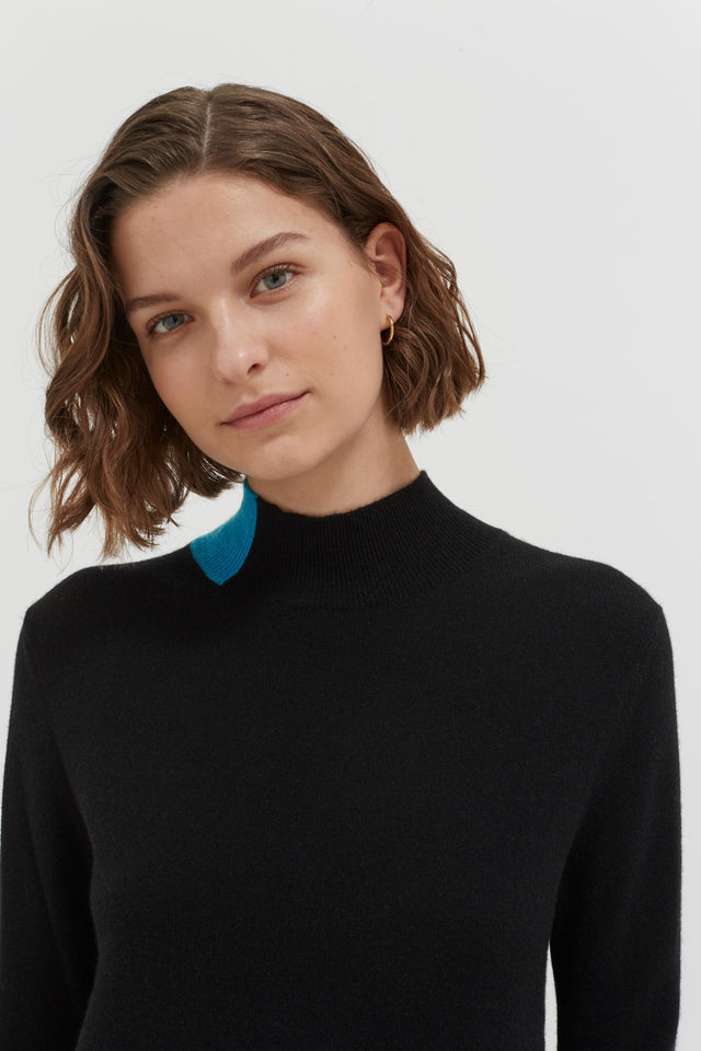 Black Bloomsbury Wool-Cashmere Turtleneck Sweater Dress image 3
