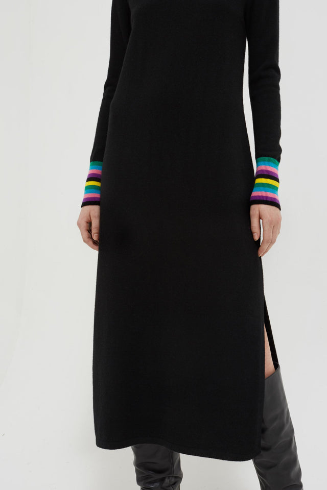 Black Bloomsbury Wool-Cashmere Turtleneck Sweater Dress image 5