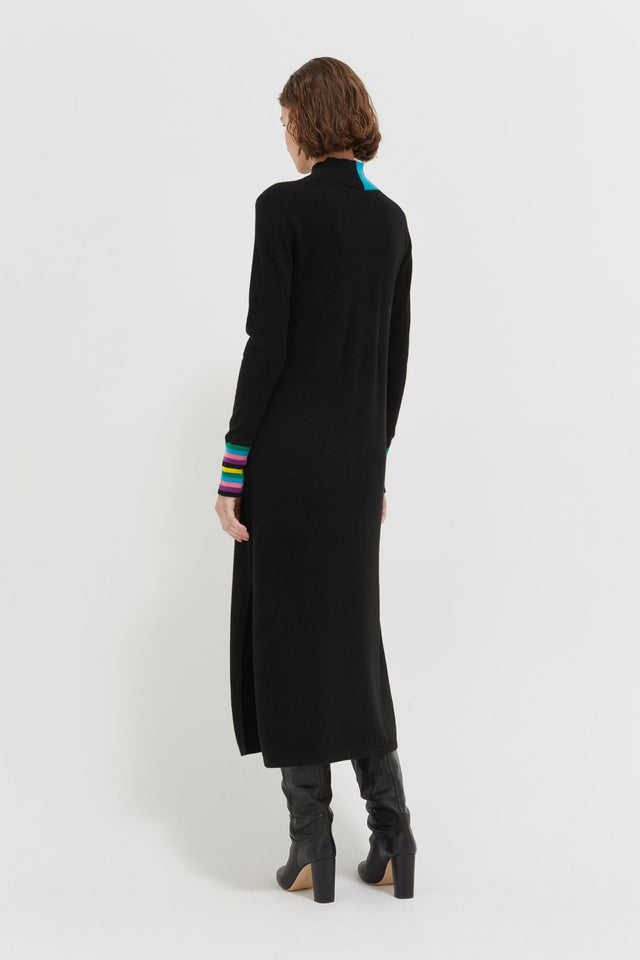 Black Bloomsbury Wool-Cashmere Turtleneck Sweater Dress image 4