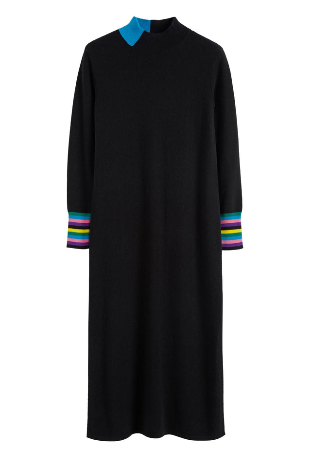 Black Bloomsbury Wool-Cashmere Turtleneck Sweater Dress image 2