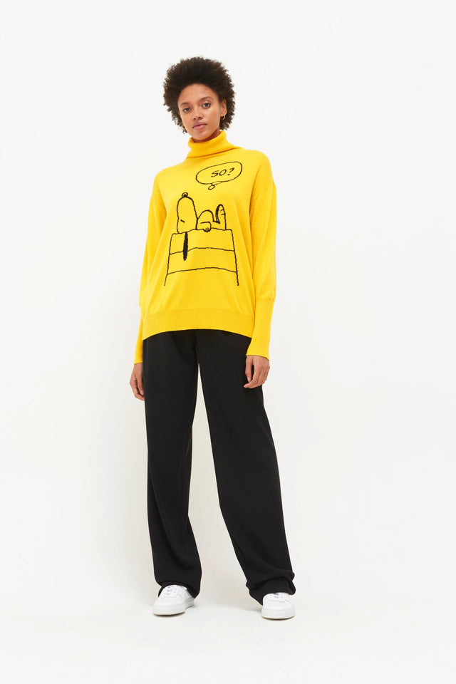 Yellow Snoopy So? Cashmere Sweater image 4