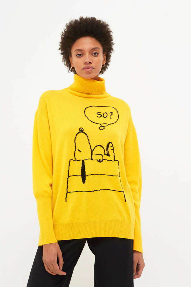 Yellow Snoopy So? Cashmere Sweater image 3