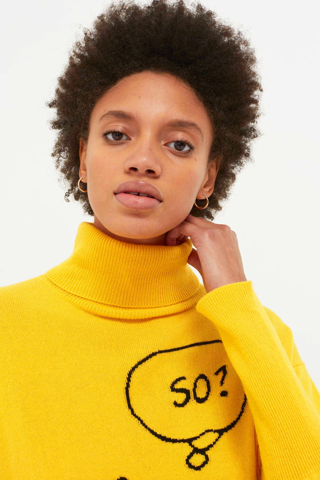 Yellow Snoopy So? Cashmere Sweater image 5
