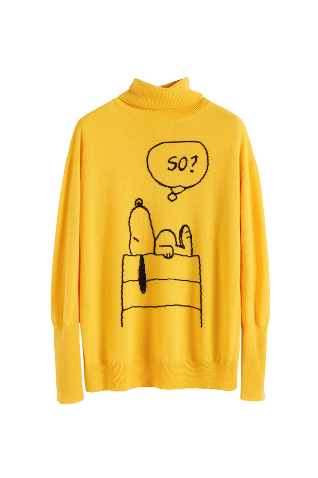 Yellow Snoopy So? Cashmere Sweater image 2