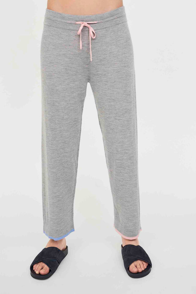 Oatmeal Cashmere Cropped Track Pants image 1