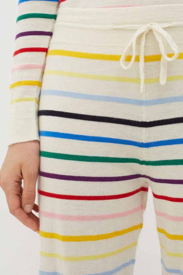 Cream Rainbow Stripe Cashmere Trousers image 5