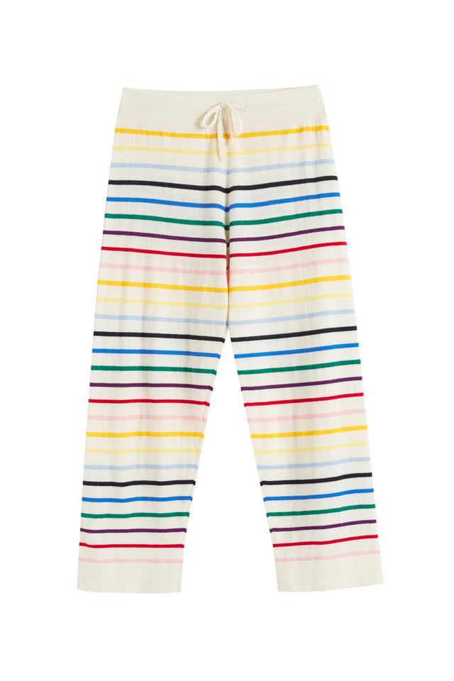 Cream Rainbow Stripe Cashmere Trousers image 2