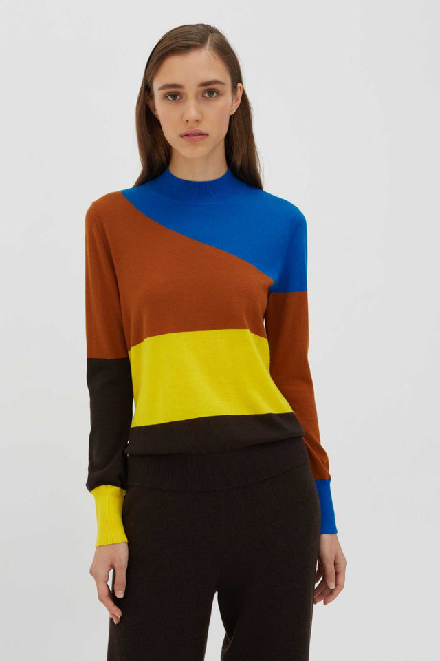 Brown Curve Wool-Cashmere Sweater image 3