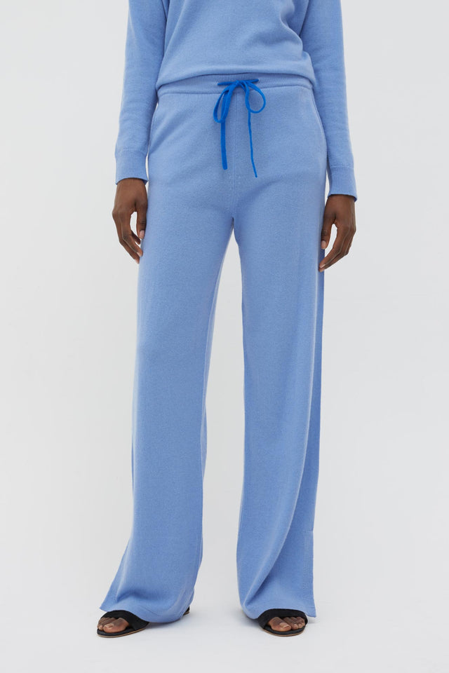 Sky-Blue Side Split Wool-Cashmere Track Pants image 3