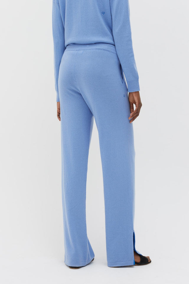 Sky-Blue Side Split Wool-Cashmere Track Pants image 5