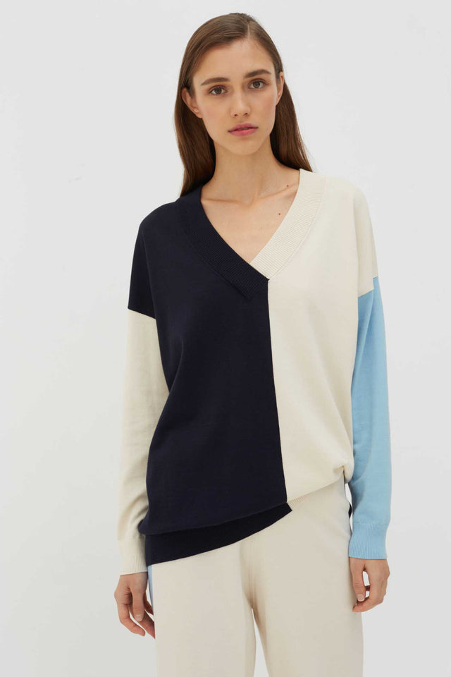 Cream Colour-Block Cotton-Blend Sweater image 1