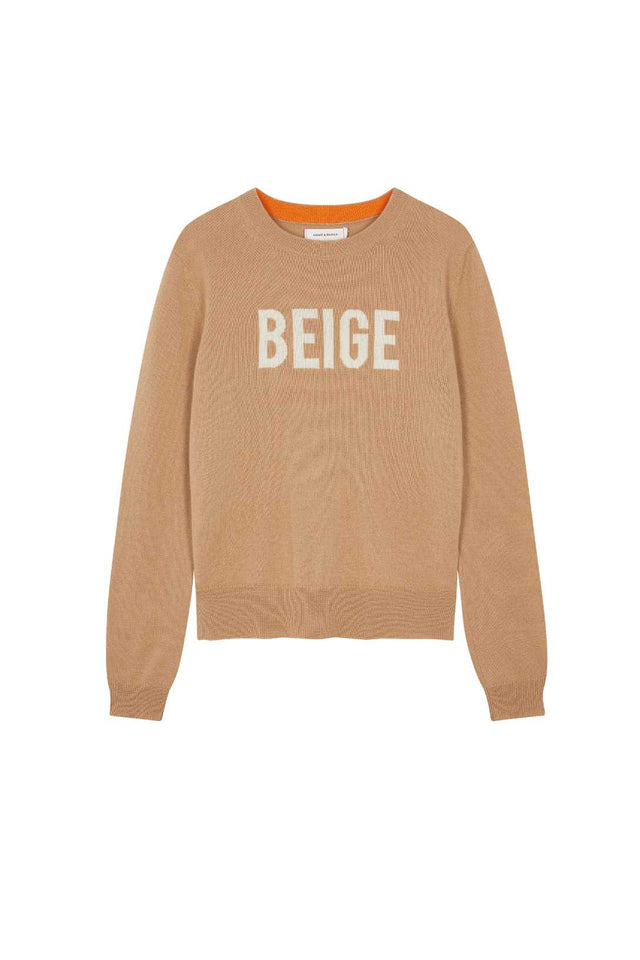 Beige Slogan Wool-Cashmere Sweater image 2